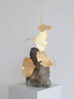 4 Leaf Stone Gingko by Kuno Vollet - Gilded Brass Gingko sculpture on stone base