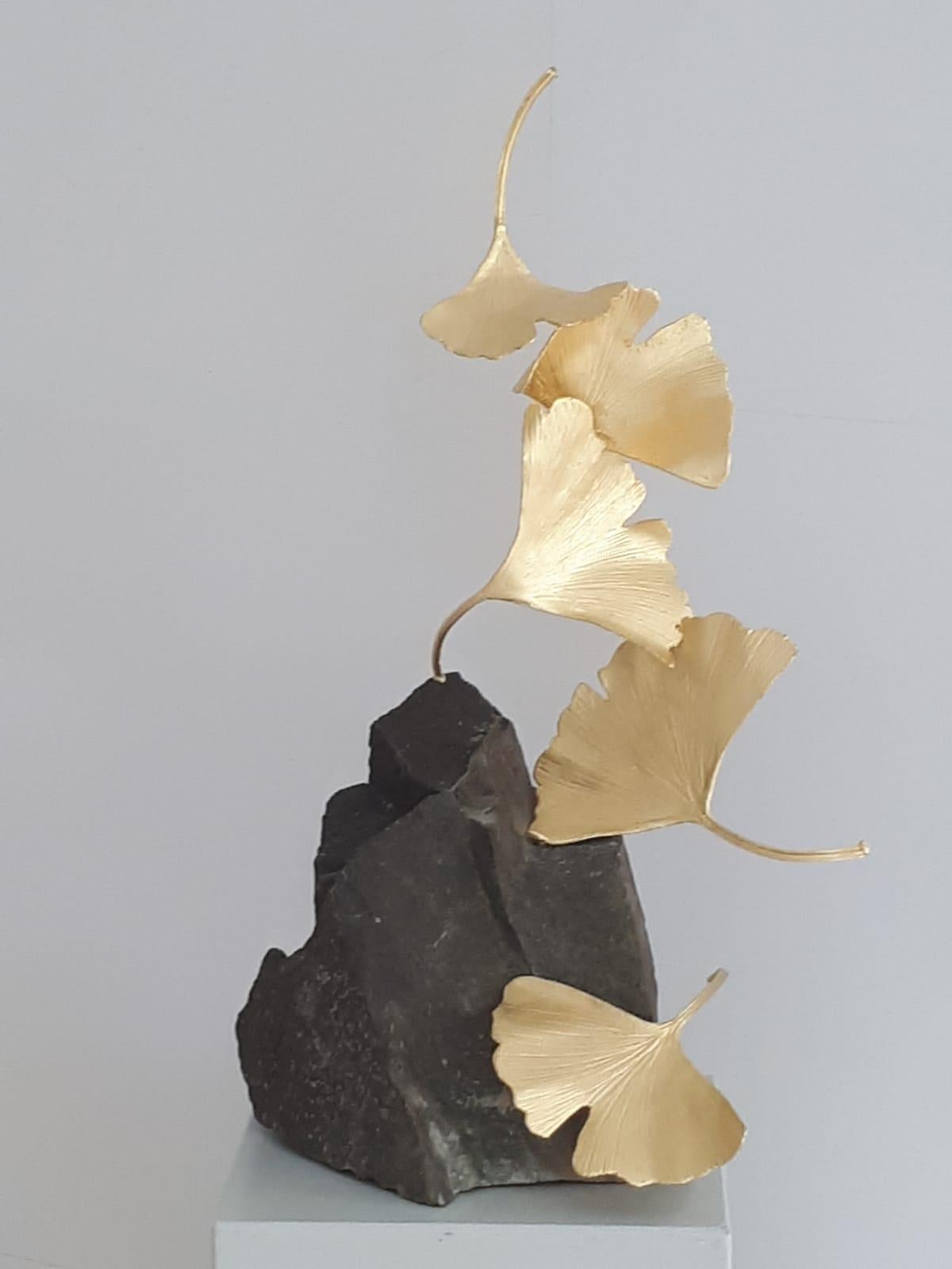 5 Leaf Stone Gingko by Kuno Vollet - Gilded Brass Gingko sculpture on stone base