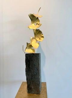 6 Golden Gingko Leaves - 24 k Gilded Cast Brass sculpture on rough stone base