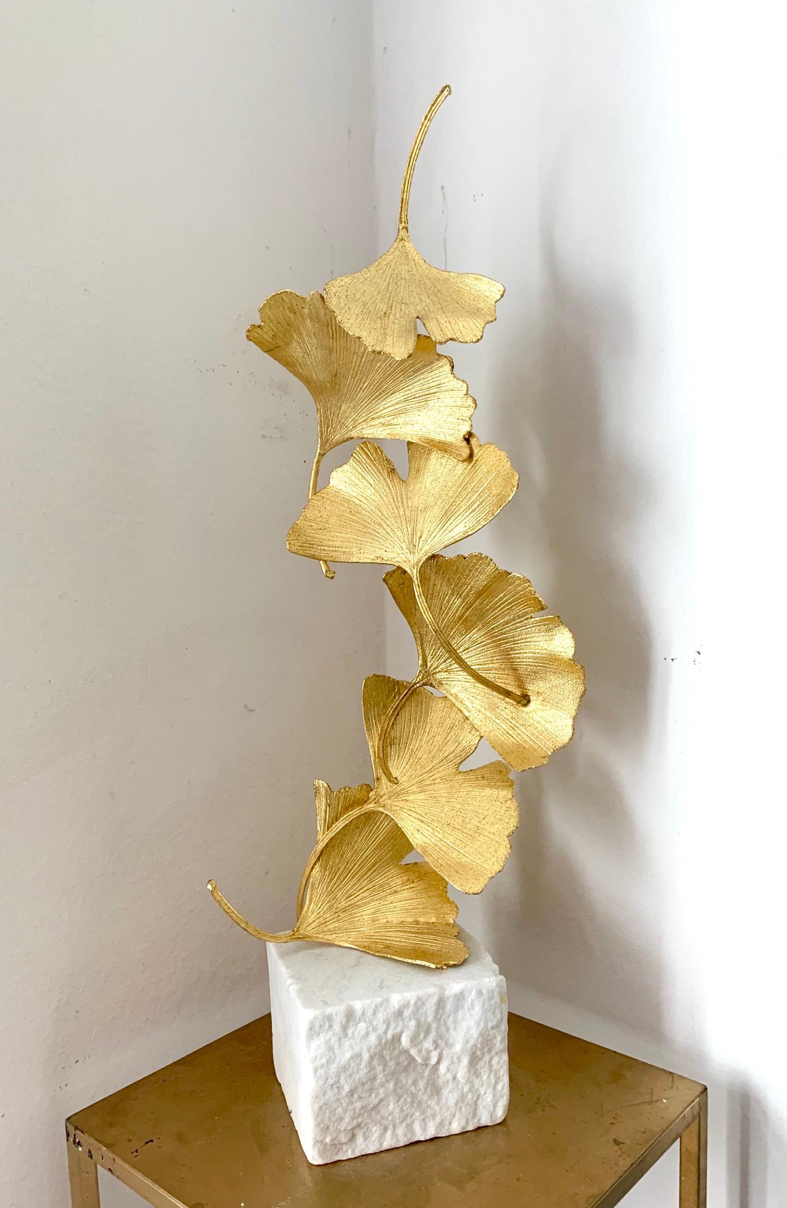 6 Golden Gingko Leaves Kuno Vollet- Cast Brass golden sculpture on white marble