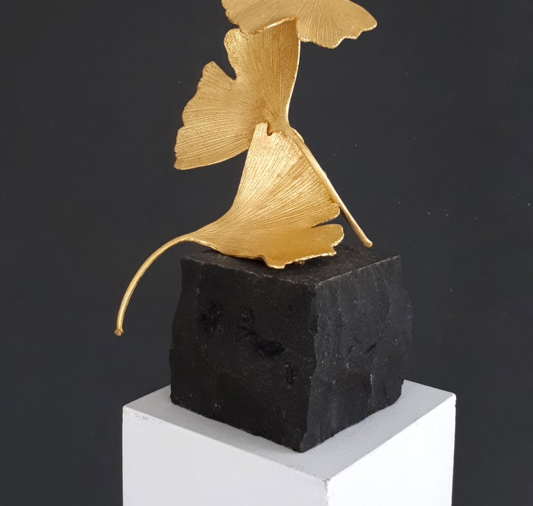 7 Golden Gingko Leaves - 24 k Gilded Cast Brass sculpture on black granite base - Black Abstract Sculpture by Kuno Vollet