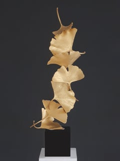 7 Golden Gingko Leaves - Cast Brass sculpture on black granite base