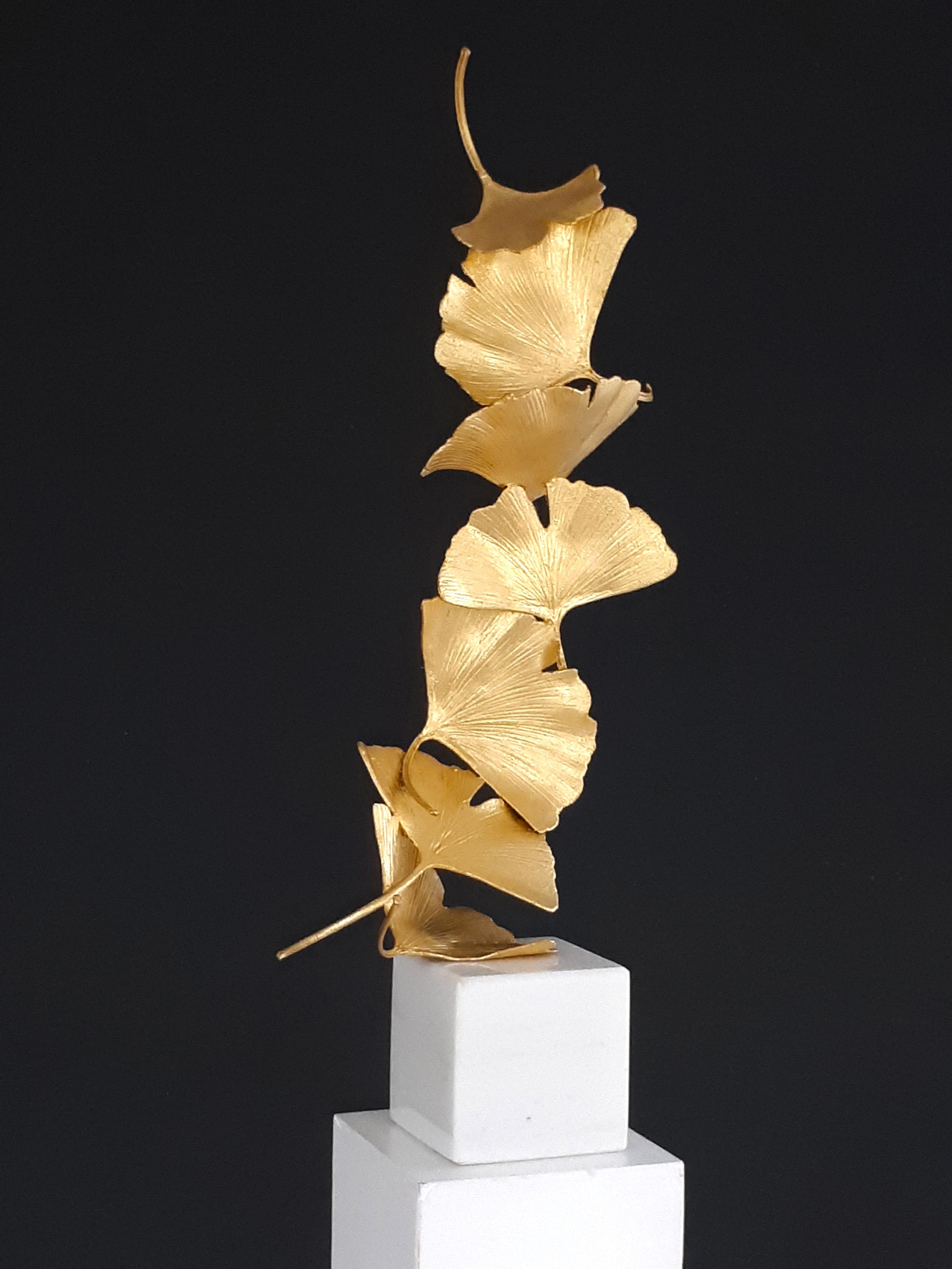 7 Golden Gingko Leaves - Gilded Brass sculpture on white marble base
