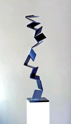 Blue Ascend by Kuno Vollet - Contemporary Blue Steel sculpture for Outdoors