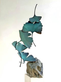 Blue Gingko by Kuno Vollet - Contemporary bronze sculpture on rough granite base