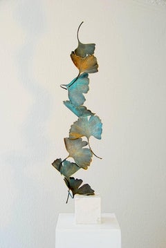 Blue Gingko by Kuno Vollet Contemporary Bronze sculpture on white marble