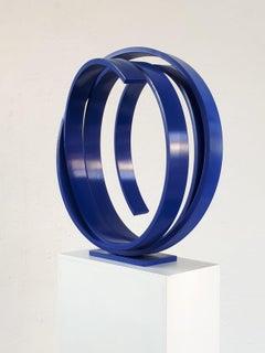 Blue Orbit by Kuno Vollet - Contemporary Abstract Circular Blue Steel sculpture