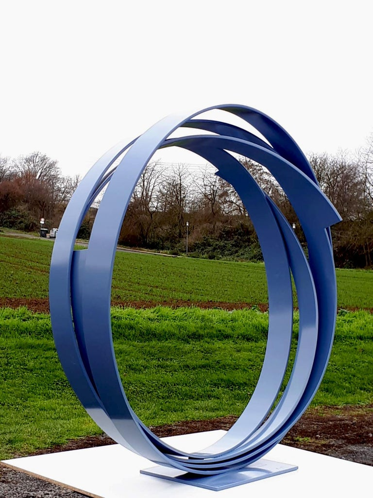 Blue Steel by Kuno Vollet - Large Contemporary Round Orbit sculpture  For Sale 3