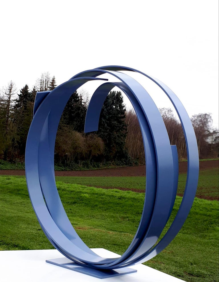 Blue Steel by Kuno Vollet - Large Contemporary Round Orbit sculpture  For Sale 4