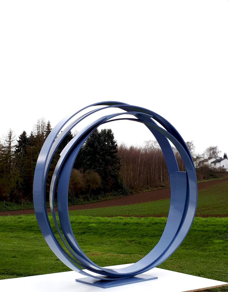Blue Steel by Kuno Vollet - Large Contemporary Round Orbit sculpture  For Sale 5