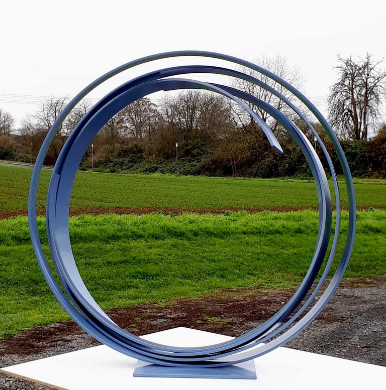 Blue Steel by Kuno Vollet - Large Contemporary Round Orbit sculpture  For Sale 6
