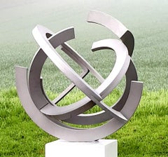 Brushed by Kuno Vollet - Contemporary Circular Stainless Steel sculpture