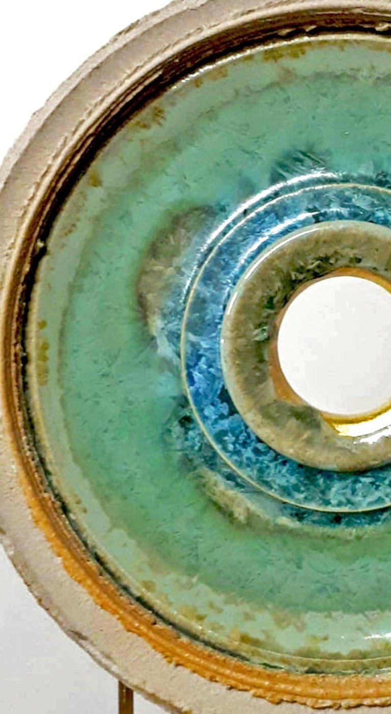 Creatio Continua Green  by K. Vollet - gold, blue circular sculpture - Sculpture by Kuno Vollet