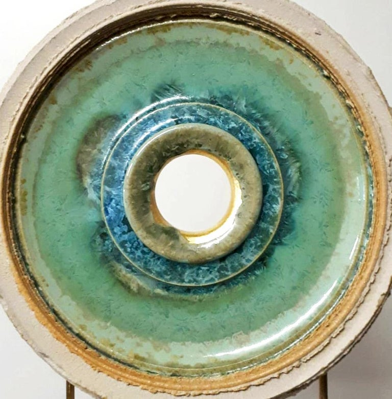 Creatio Continua Green  by K. Vollet - gold, blue circular sculpture - Abstract Sculpture by Kuno Vollet