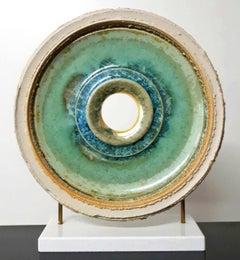 Creatio Continua Green  by K. Vollet - gold, blue circular sculpture