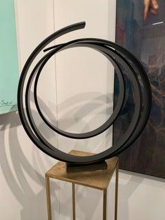 Dancing Orb by Kuno Vollet - Contemporary black circular sculpture