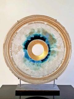 Elegance Creatio Continua by Kuno Vollet - gold, blue circular ceramic sculpture