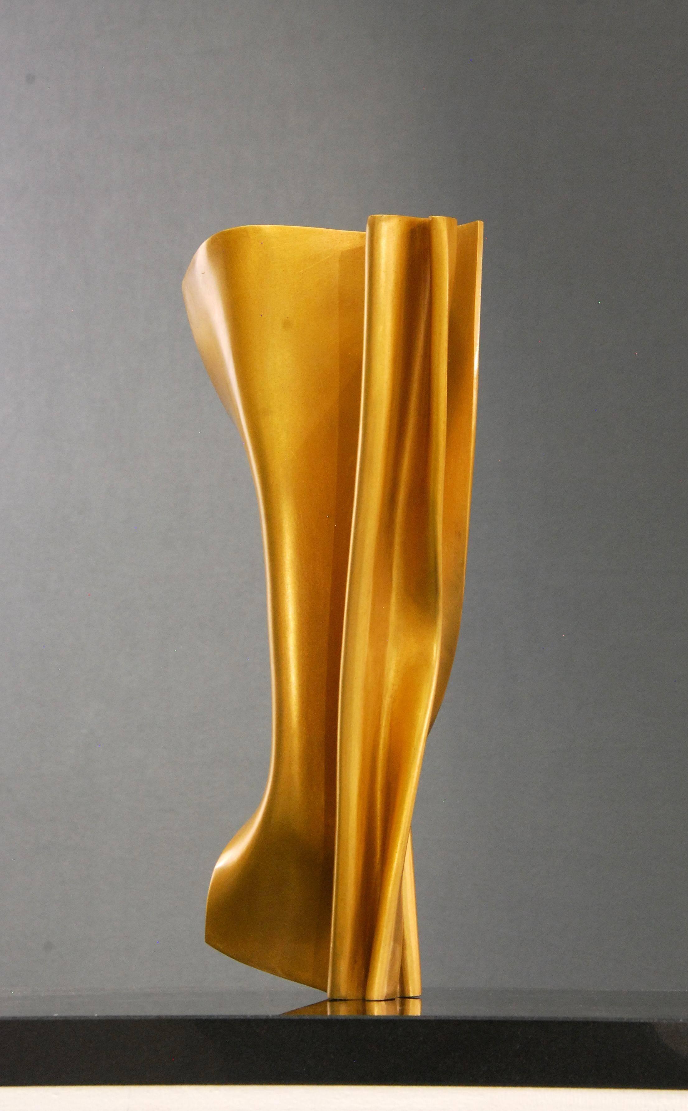 Faltung 1 by Kuno Vollet - Golden polished Bronze sculpture on granite base