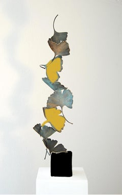 Gingko by Kuno Vollet Contemporary Bronze sculpture on white marble