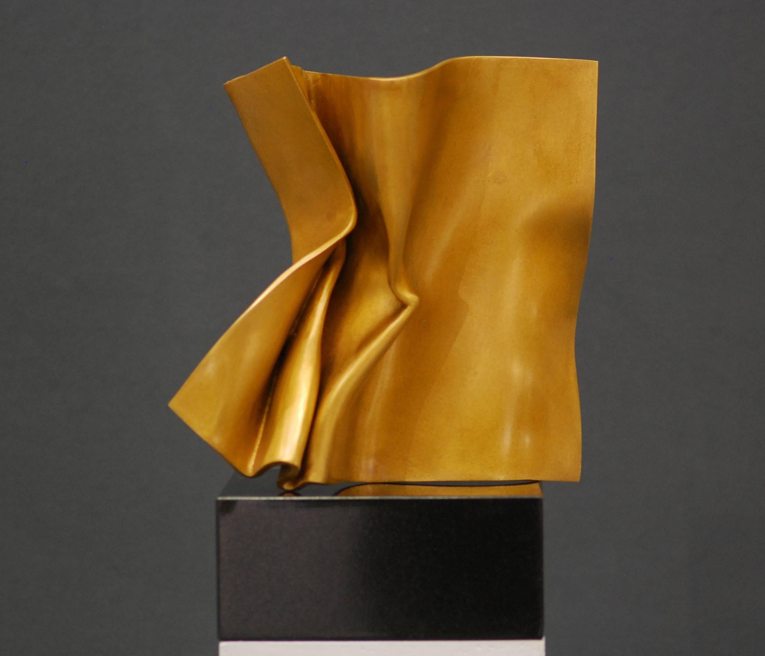 Golden Fold by Kuno Vollet - Contemporary polished Bronze sculpture granite base