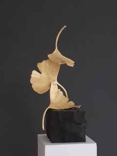 Golden Gingko by Kuno Vollet - Cast Brass gilded sculpture on black granite base