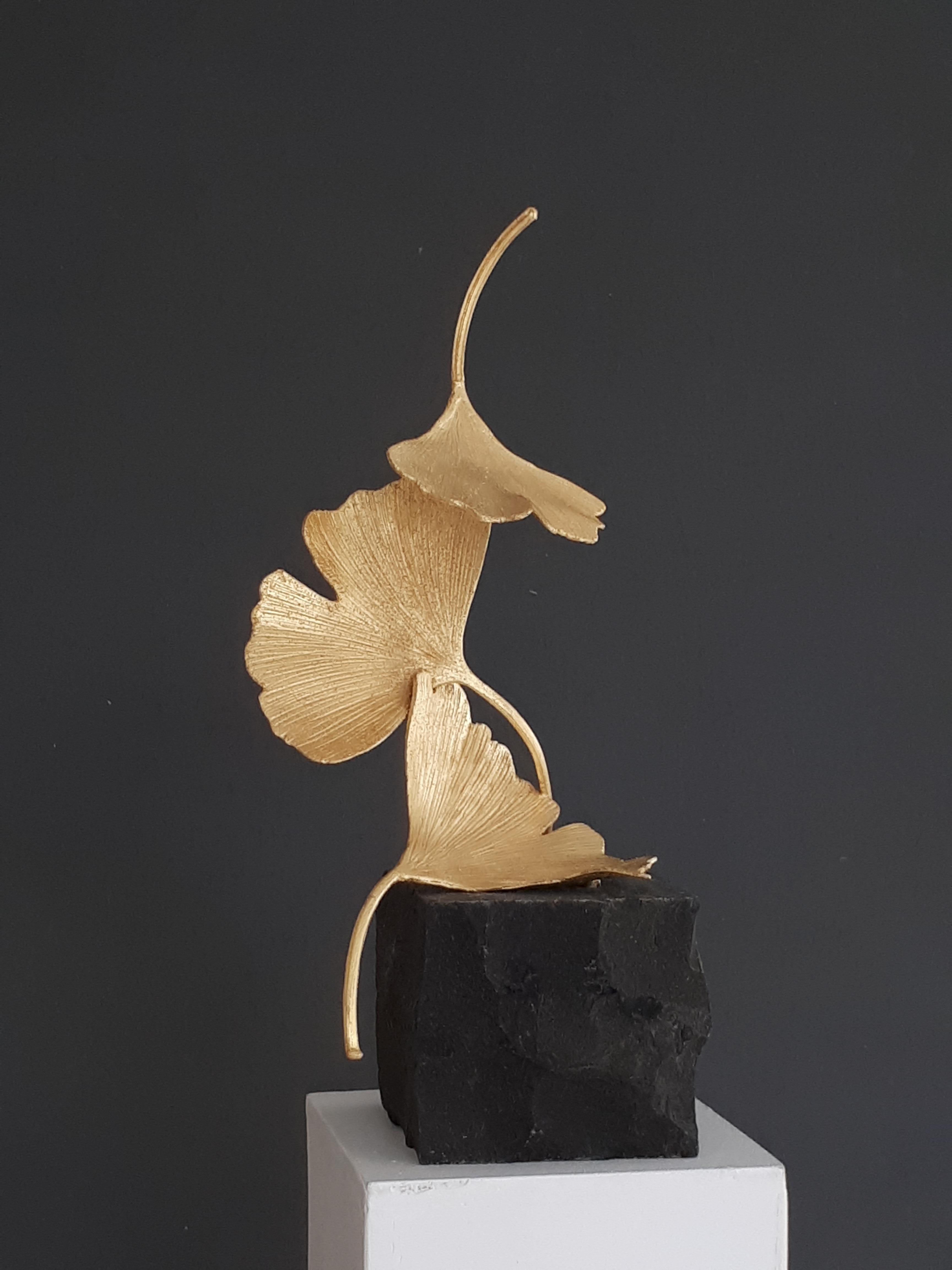 Golden Gingko by Kuno Vollet - Cast Brass gilded sculpture on black granite base