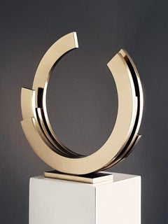 Golden Orbit by Kuno Vollet - Contemporary gilded brass sculpture
