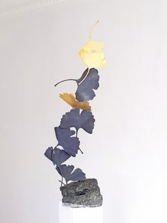 Grey and Gold Gingko by Kuno Vollet Contemporary Bronze sculpture on granite