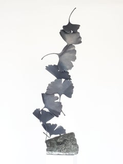 Grey Gingko by Kuno Vollet Contemporary Bronze sculpture on granite