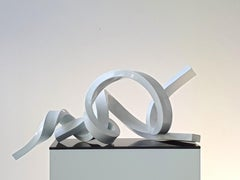 Infinitum 7  by Kuno Vollet - White Sculpture with Diamond Sparkle