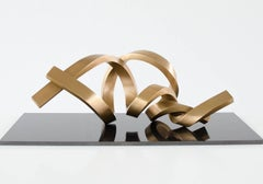 Infinitum by Kuno Vollet - Gold polished abstract bronze sculpture