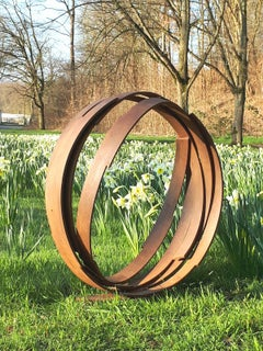 Large Orbit by Kuno Vollet - Contemporary Rusted Steel sculpture for Outdoors
