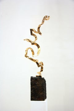 Light as Air by Kuno Vollet - Gold polished Bronze Sculpture on Granite Base