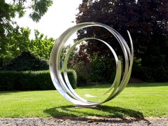 Silver Orbit by Kuno Vollet Contemporary Stainless Steel sculpture for Outdoors