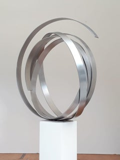 Silver Steel Circle by Kuno Vollet - Contemporary indoor or outdoor sculpture