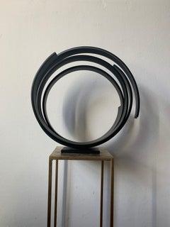 Steel Sphere by Kuno Vollet - Contemporary black circular sculpture