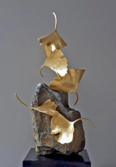 Stone Gingko by Kuno Vollet -  Gilded Brass Gingko sculpture on stone base