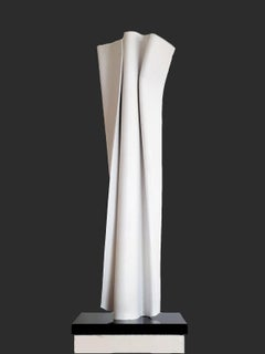 White Convolution by Kuno Vollet Contemporary Sculpture for indoor or outdoor