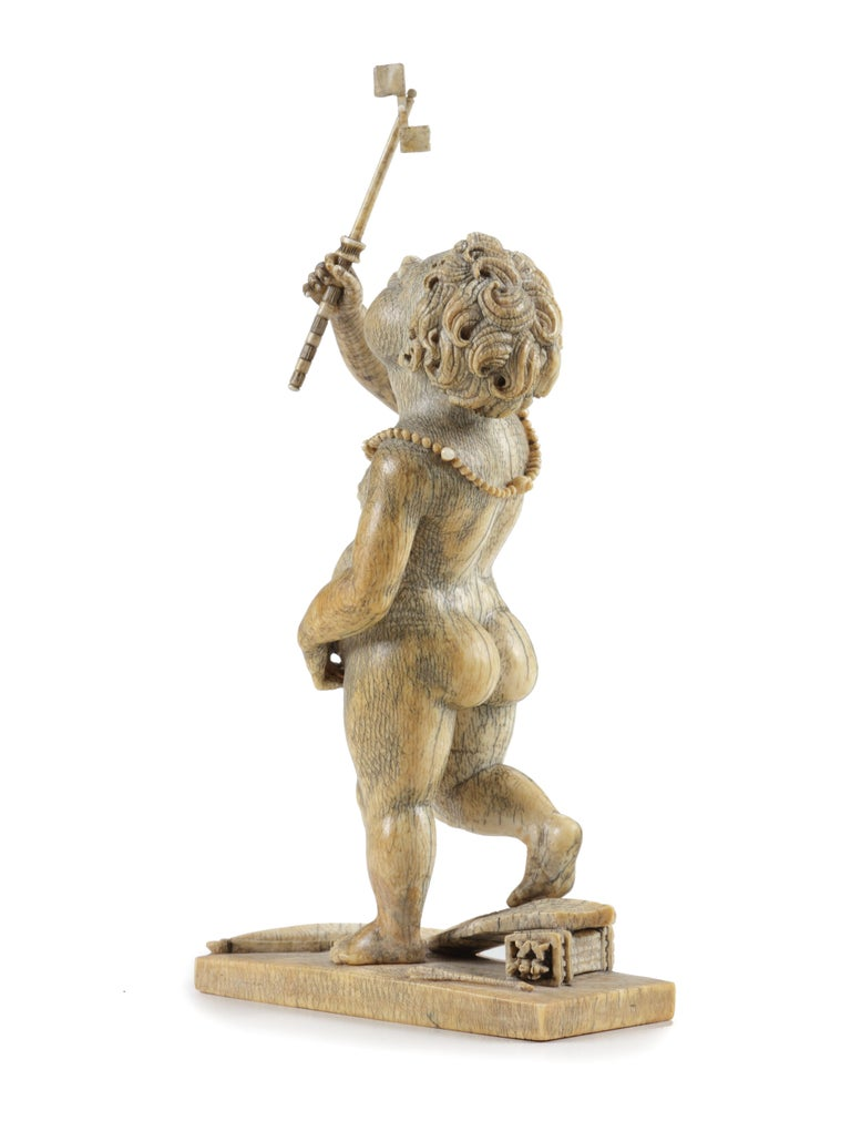 Renaissance Kunstkammer Mammoth Ivory Sculpture of an African Amor, 17th Century For Sale