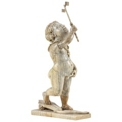 Kunstkammer Mammoth Ivory Sculpture of an African Amor, 17th Century