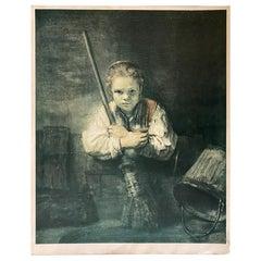 Kunstkreis Luzern, 1968, Print Girl with the Broom by Rembrandt H. Van Rhijn