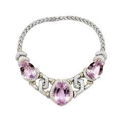 Kuntzite and Diamonds 14 Karat White and Yellow Gold Necklace