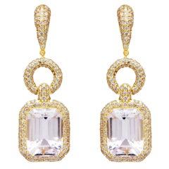 Kunzite and Diamond Earrings in 18 Karat Yellow Gold