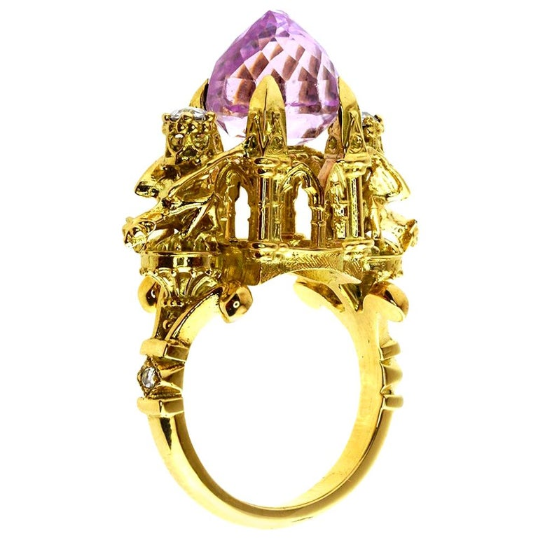 Kunzite and Diamond Higher Divinity Cathedral Ring For Sale