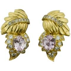 Kunzite and Diamond Leaf Design Earrings in 18 Karat, circa 1960s