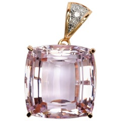 Kunzite and Diamond Pendant 77 Carat