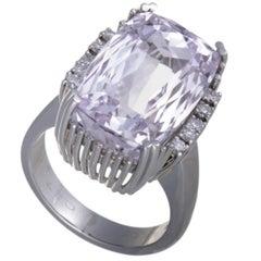 Kunzite and Diamond Platinum Cocktail Ring