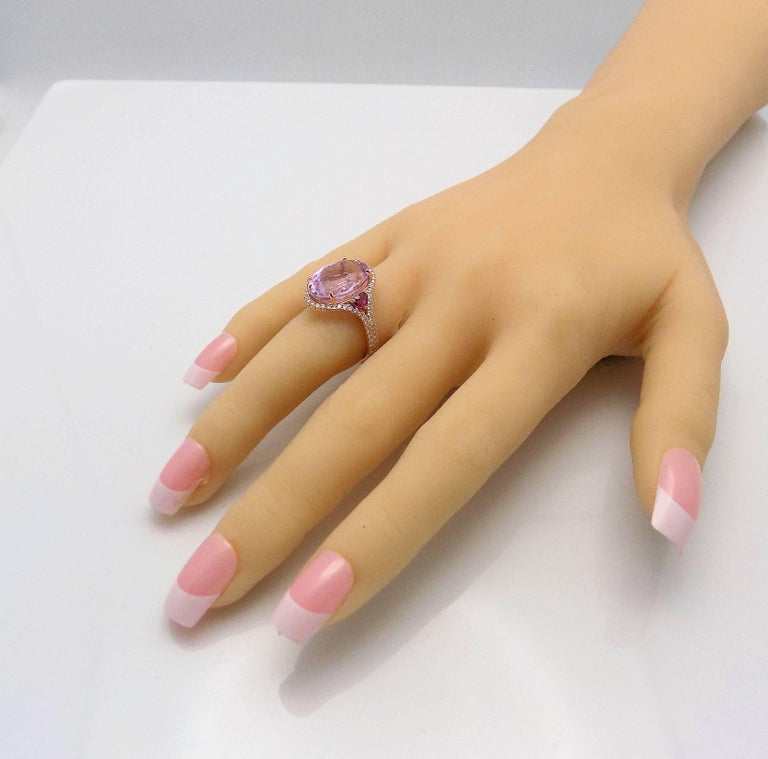 Kunzite and Diamond Ring For Sale 6