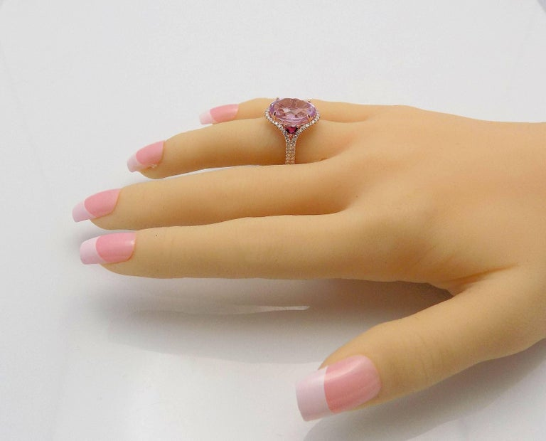 Kunzite and Diamond Ring For Sale 7