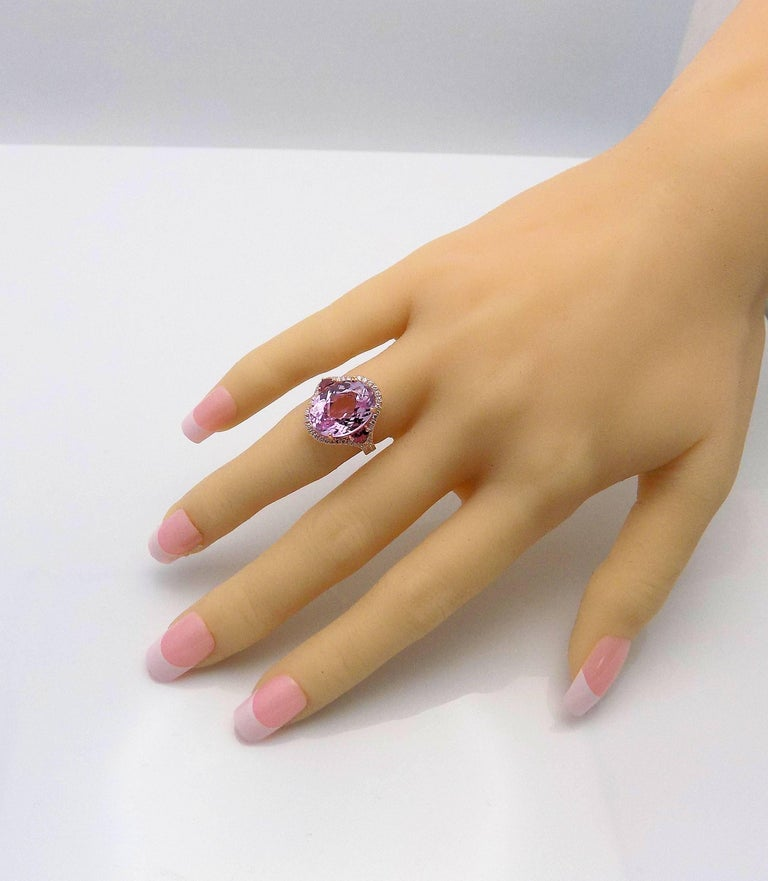 Kunzite and Diamond Ring For Sale 8